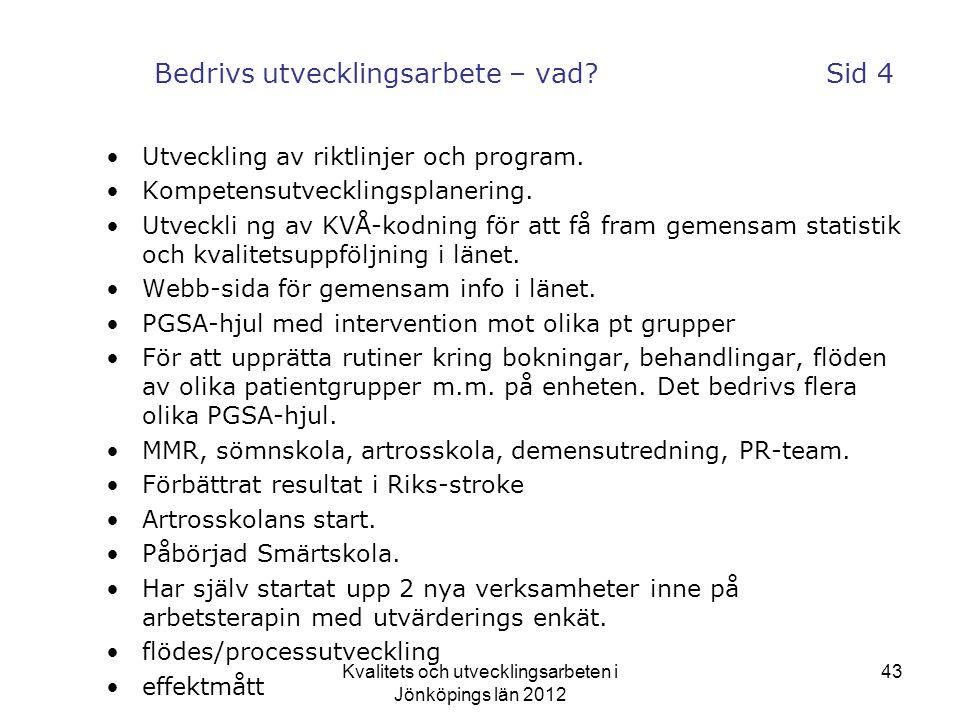 Kvalitets och utvecklingsarbeten i Jönköpings län 2012 43 Bedrivs utvecklingsarbete – vad.