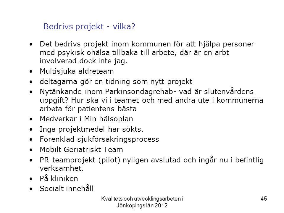 Kvalitets och utvecklingsarbeten i Jönköpings län 2012 45 Bedrivs projekt - vilka.