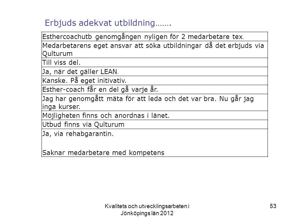 Kvalitets och utvecklingsarbeten i Jönköpings län 2012 53 Erbjuds adekvat utbildning…….