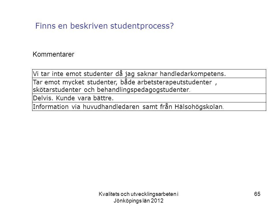 Kvalitets och utvecklingsarbeten i Jönköpings län 2012 65 Finns en beskriven studentprocess.