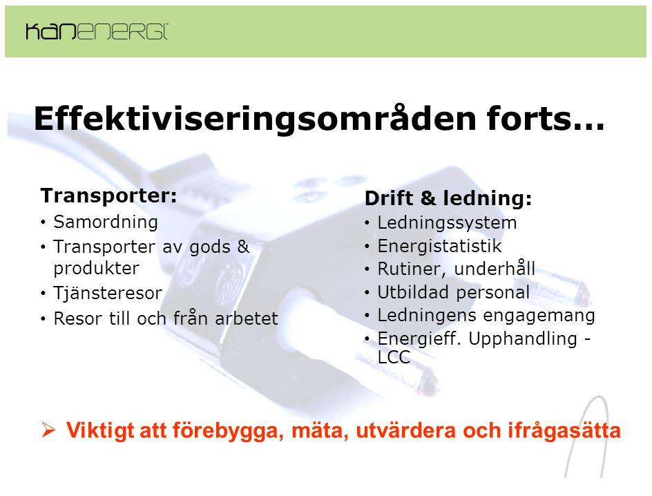 Effektiviseringsområden forts… Transporter: • Samordning • Transporter av gods & produkter • Tjänsteresor • Resor till och från arbetet Drift & lednin