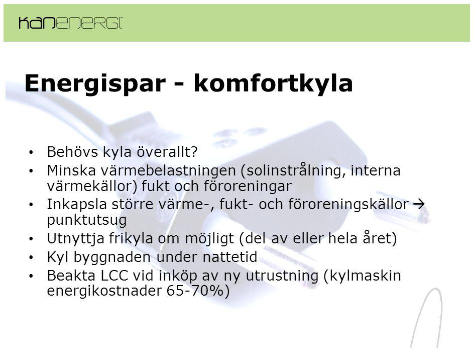 Energispar - komfortkyla • Behövs kyla överallt? • Minska värmebelastningen (solinstrålning, interna värmekällor) fukt och föroreningar • Inkapsla stö