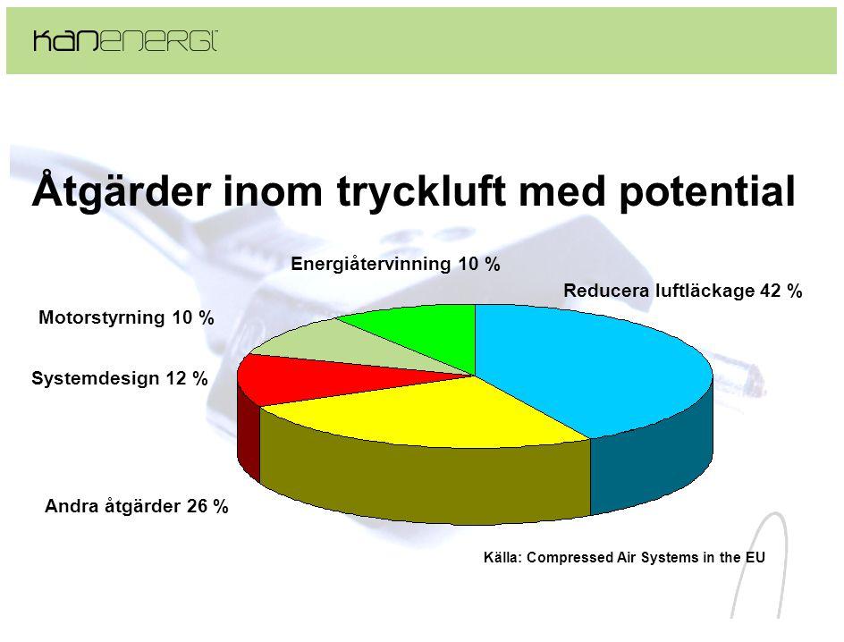 Åtgärder inom tryckluft med potential Reducera luftläckage 42 % Energiåtervinning 10 % Andra åtgärder 26 % Motorstyrning 10 % Systemdesign 12 % Källa: Compressed Air Systems in the EU