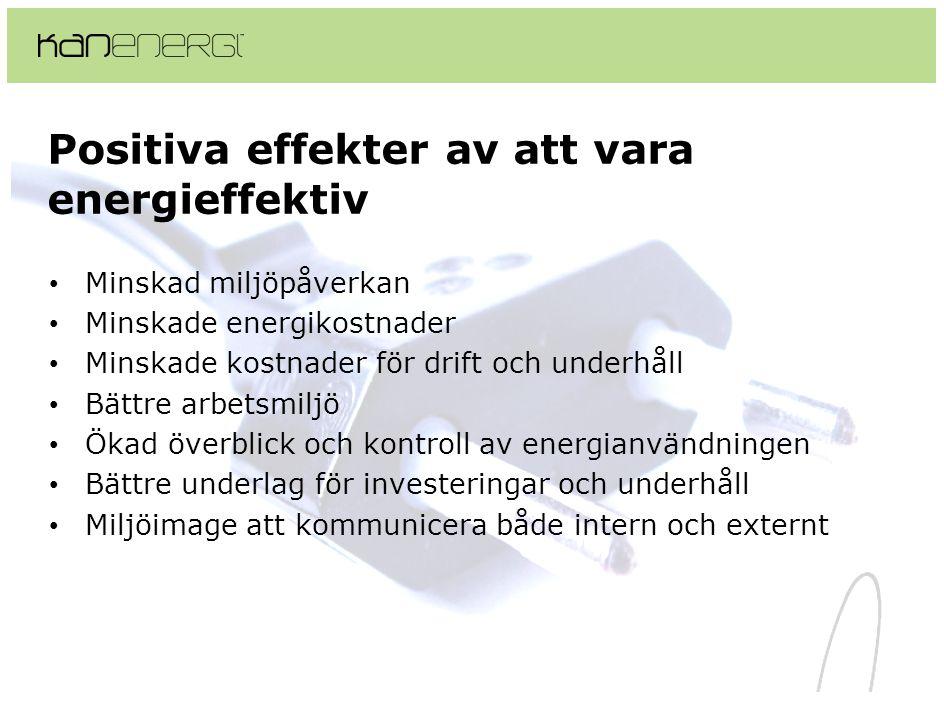 Positiva effekter av att vara energieffektiv • Minskad miljöpåverkan • Minskade energikostnader • Minskade kostnader för drift och underhåll • Bättre arbetsmiljö • Ökad överblick och kontroll av energianvändningen • Bättre underlag för investeringar och underhåll • Miljöimage att kommunicera både intern och externt