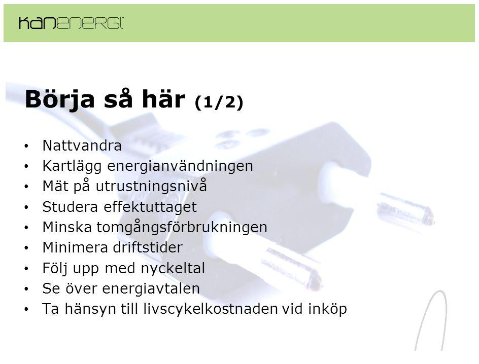 Börja så här (1/2) • Nattvandra • Kartlägg energianvändningen • Mät på utrustningsnivå • Studera effektuttaget • Minska tomgångsförbrukningen • Minime