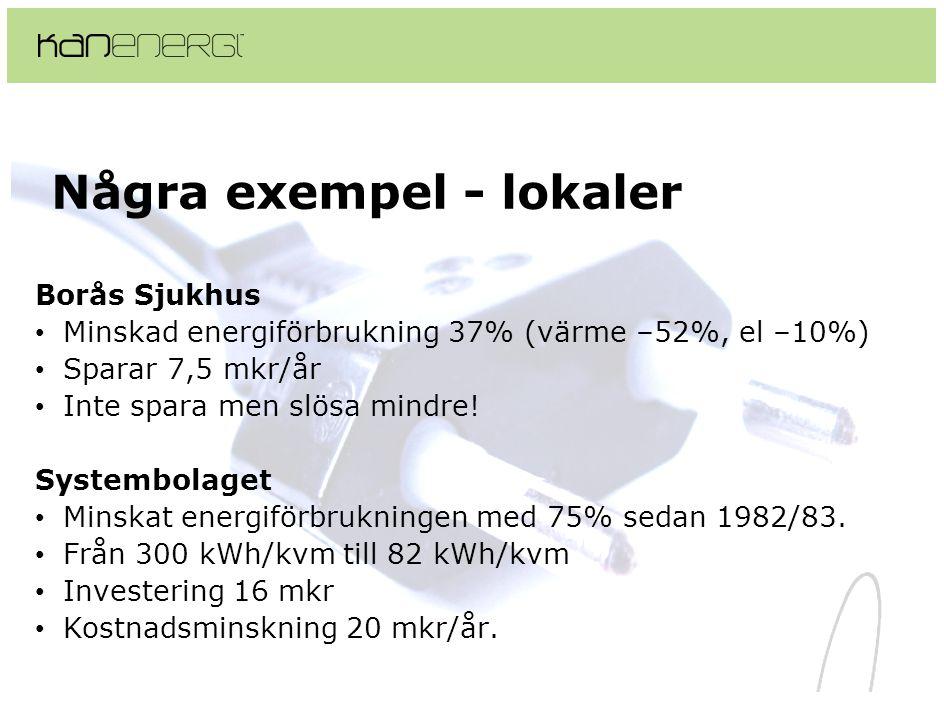 Några exempel - lokaler Borås Sjukhus • Minskad energiförbrukning 37% (värme –52%, el –10%) • Sparar 7,5 mkr/år • Inte spara men slösa mindre! Systemb