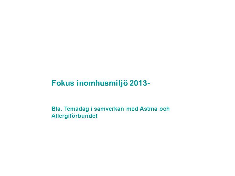 Fokus inomhusmiljö 2013- Bla. Temadag i samverkan med Astma och Allergiförbundet