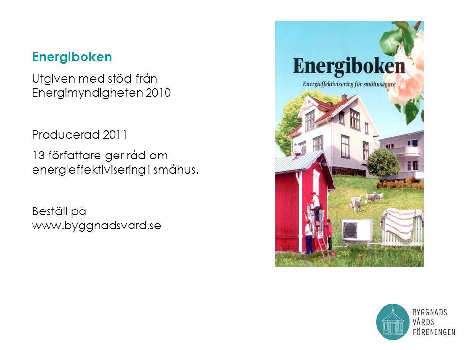 Energiboken Utgiven med stöd från Energimyndigheten 2010 Producerad 2011 13 författare ger råd om energieffektivisering i småhus.
