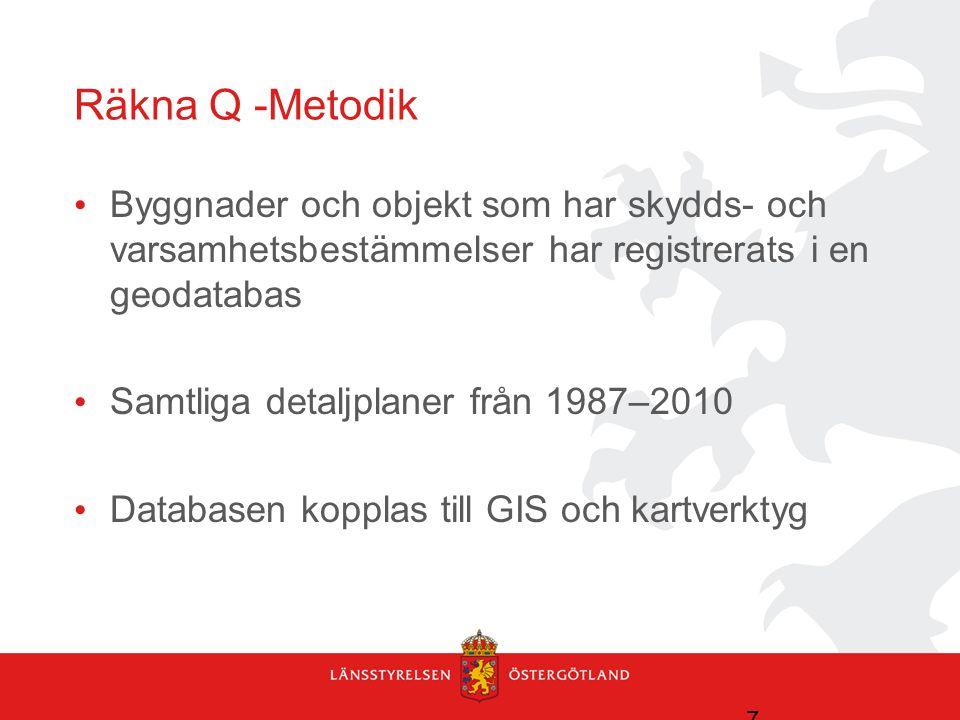 Räkna Q -Metodik • Byggnader och objekt som har skydds- och varsamhetsbestämmelser har registrerats i en geodatabas • Samtliga detaljplaner från 1987–2010 • Databasen kopplas till GIS och kartverktyg 7