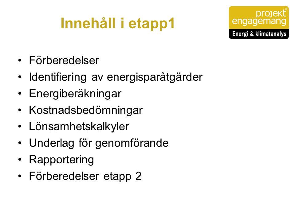 Innehåll i etapp1 •Förberedelser •Identifiering av energisparåtgärder •Energiberäkningar •Kostnadsbedömningar •Lönsamhetskalkyler •Underlag för genomf
