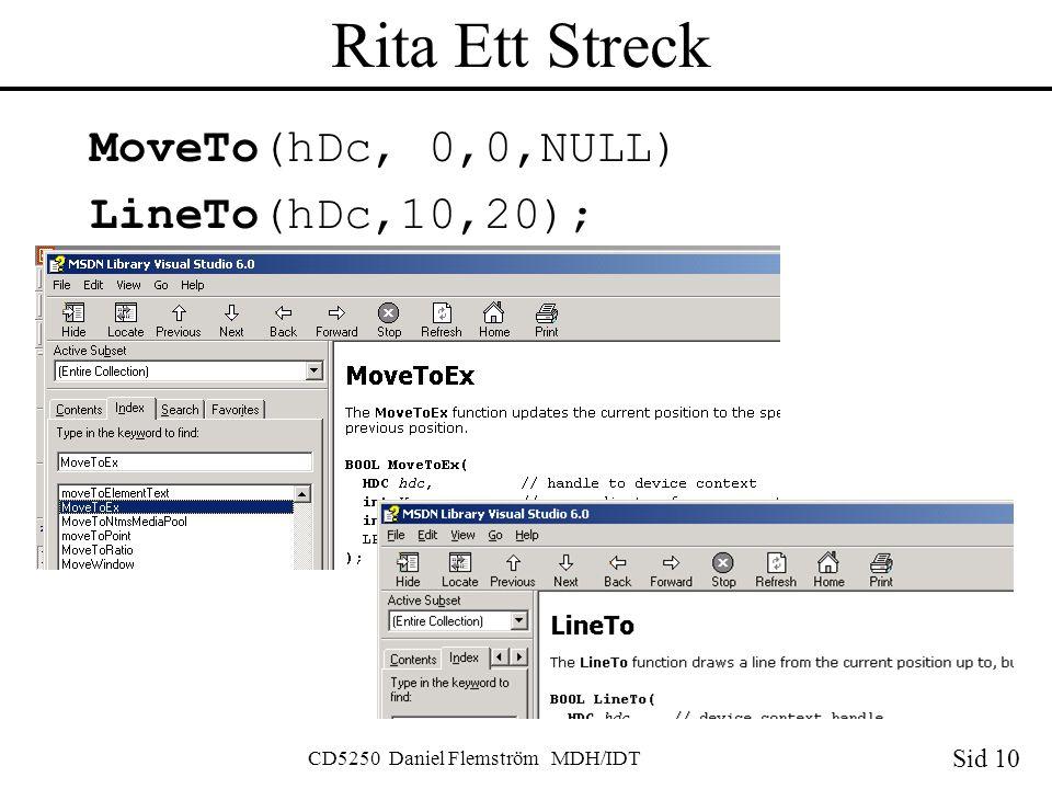Sid 10 CD5250 Daniel Flemström MDH/IDT Rita Ett Streck MoveTo(hDc, 0,0,NULL) LineTo(hDc,10,20);