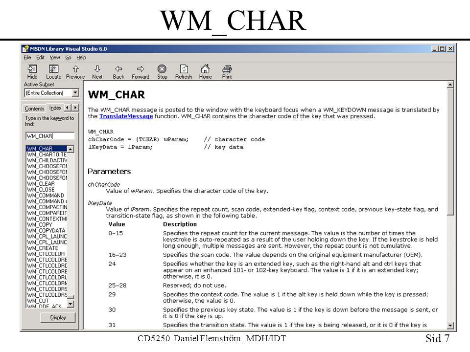 Sid 7 CD5250 Daniel Flemström MDH/IDT WM_CHAR