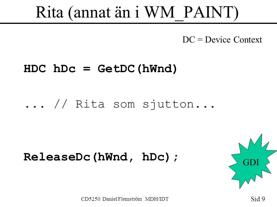 Sid 9 CD5250 Daniel Flemström MDH/IDT Rita (annat än i WM_PAINT) HDC hDc = GetDC(hWnd)...
