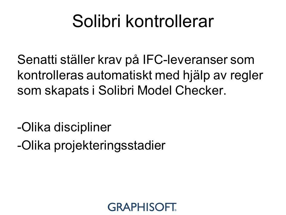 Solibri kontrollerar Senatti ställer krav på IFC-leveranser som kontrolleras automatiskt med hjälp av regler som skapats i Solibri Model Checker. -Oli
