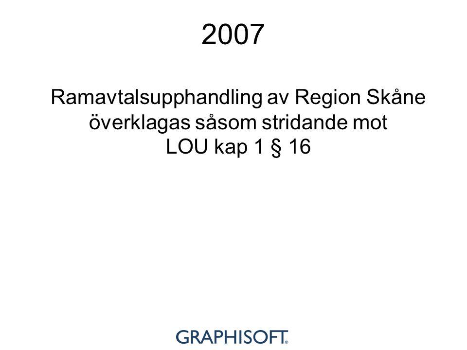 2007 Ramavtalsupphandling av Region Skåne överklagas såsom stridande mot LOU kap 1 § 16