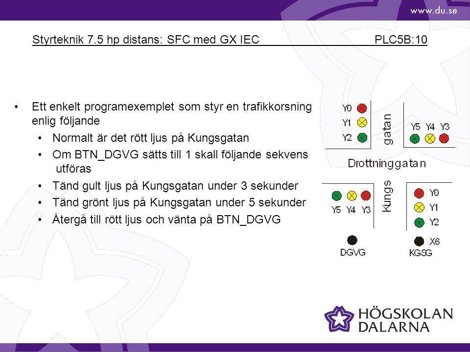Styrteknik 7.5 hp distans: SFC med GX IEC PLC5B:10 •Ett enkelt programexemplet som styr en trafikkorsning enlig följande •Normalt är det rött ljus på
