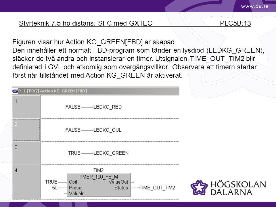 Styrteknik 7.5 hp distans: SFC med GX IEC PLC5B:13 Figuren visar hur Action KG_GREEN[FBD] är skapad. Den innehåller ett normalt FBD-program som tänder