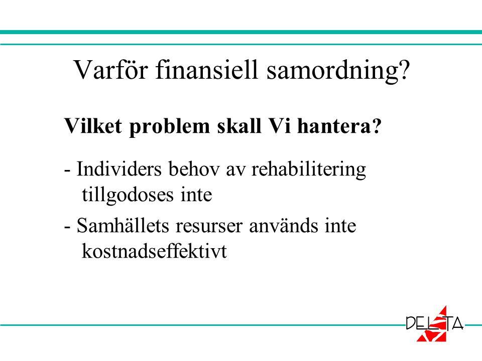 Varför finansiell samordning? Vilket problem skall Vi hantera ? - Individers behov av rehabilitering tillgodoses inte - Samhällets resurser används in