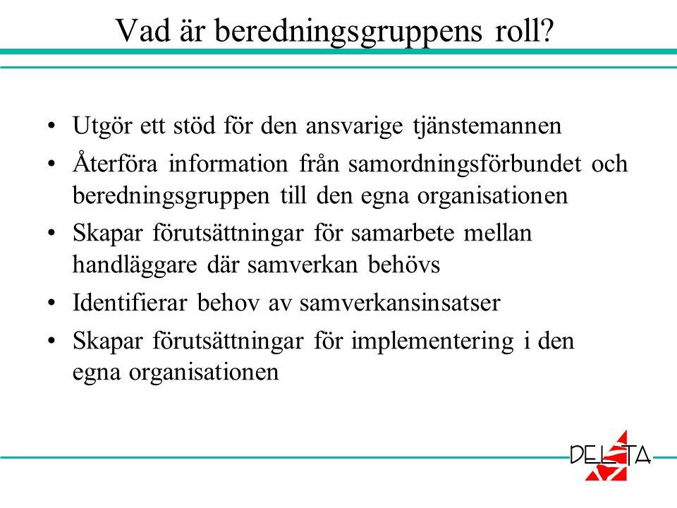 Vad är beredningsgruppens roll? •Utgör ett stöd för den ansvarige tjänstemannen •Återföra information från samordningsförbundet och beredningsgruppen
