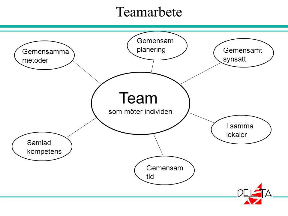 Team som möter individen Gemensamma metoder Samlad kompetens Gemensam tid I samma lokaler Gemensamt synsätt Gemensam planering Teamarbete