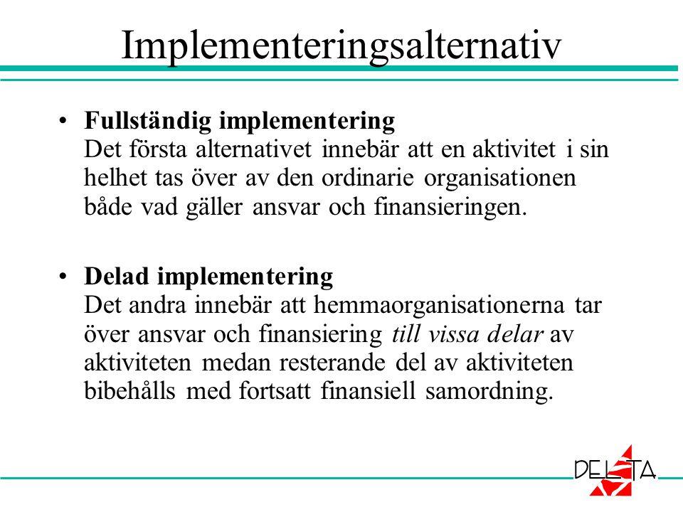 Implementeringsalternativ •Fullständig implementering Det första alternativet innebär att en aktivitet i sin helhet tas över av den ordinarie organisationen både vad gäller ansvar och finansieringen.