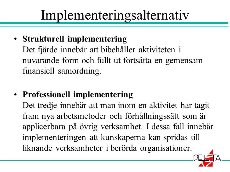 Implementeringsalternativ •Strukturell implementering Det fjärde innebär att bibehåller aktiviteten i nuvarande form och fullt ut fortsätta en gemensa