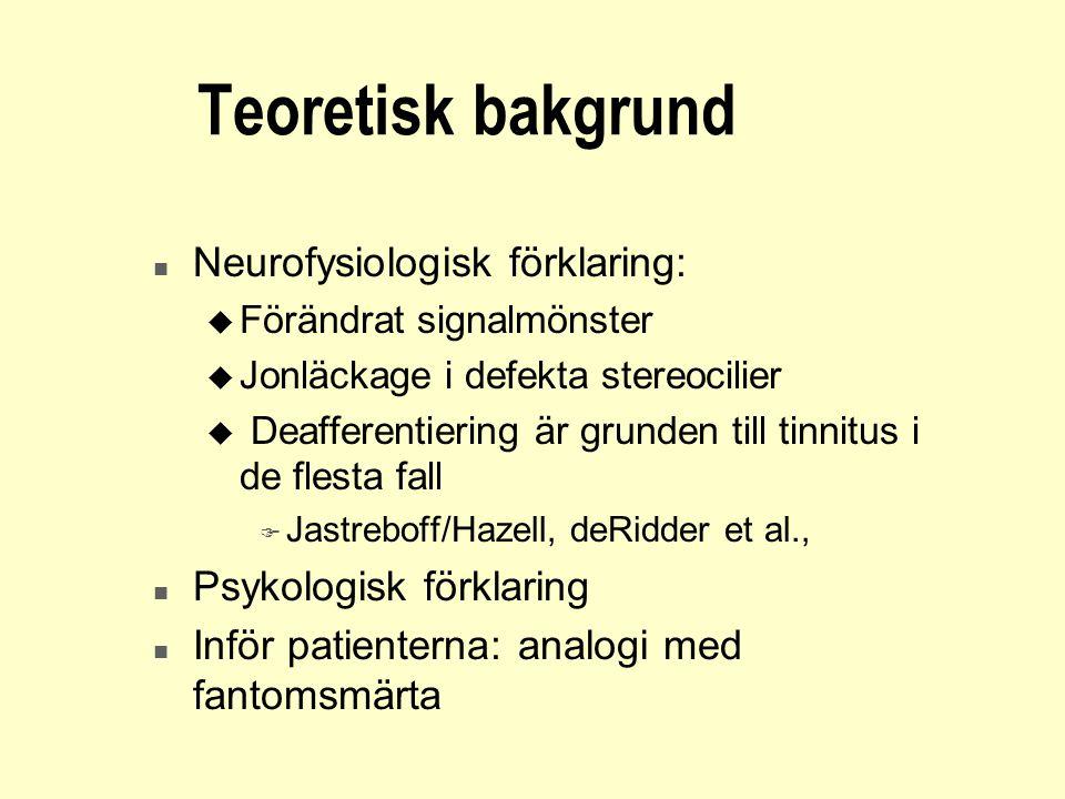 Teoretisk bakgrund n Neurofysiologisk förklaring: u Förändrat signalmönster u Jonläckage i defekta stereocilier u Deafferentiering är grunden till tin