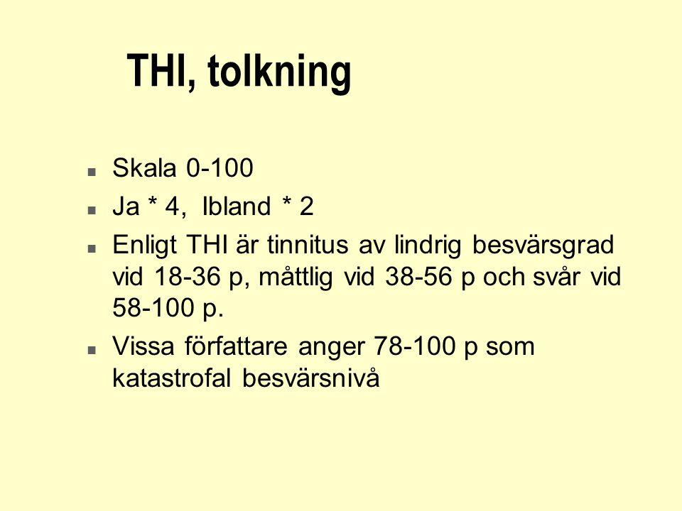 THI, tolkning n Skala 0-100 n Ja * 4, Ibland * 2 n Enligt THI är tinnitus av lindrig besvärsgrad vid 18-36 p, måttlig vid 38-56 p och svår vid 58-100
