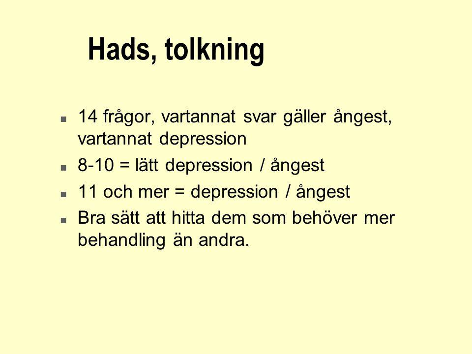 Hads, tolkning n 14 frågor, vartannat svar gäller ångest, vartannat depression n 8-10 = lätt depression / ångest n 11 och mer = depression / ångest n