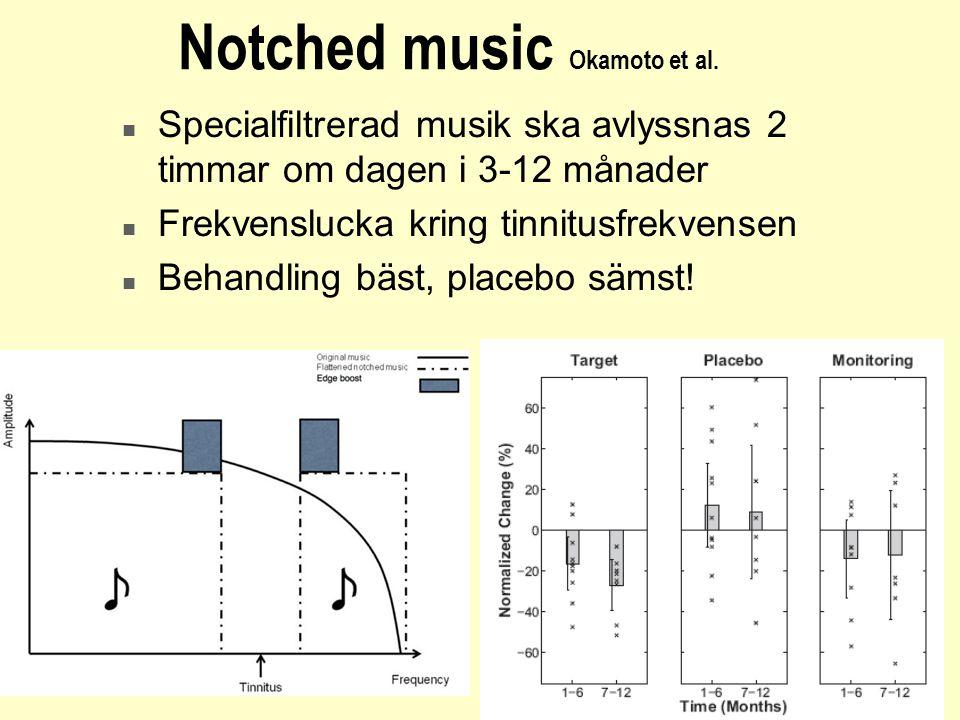 Notched music Okamoto et al. n Specialfiltrerad musik ska avlyssnas 2 timmar om dagen i 3-12 månader n Frekvenslucka kring tinnitusfrekvensen n Behand