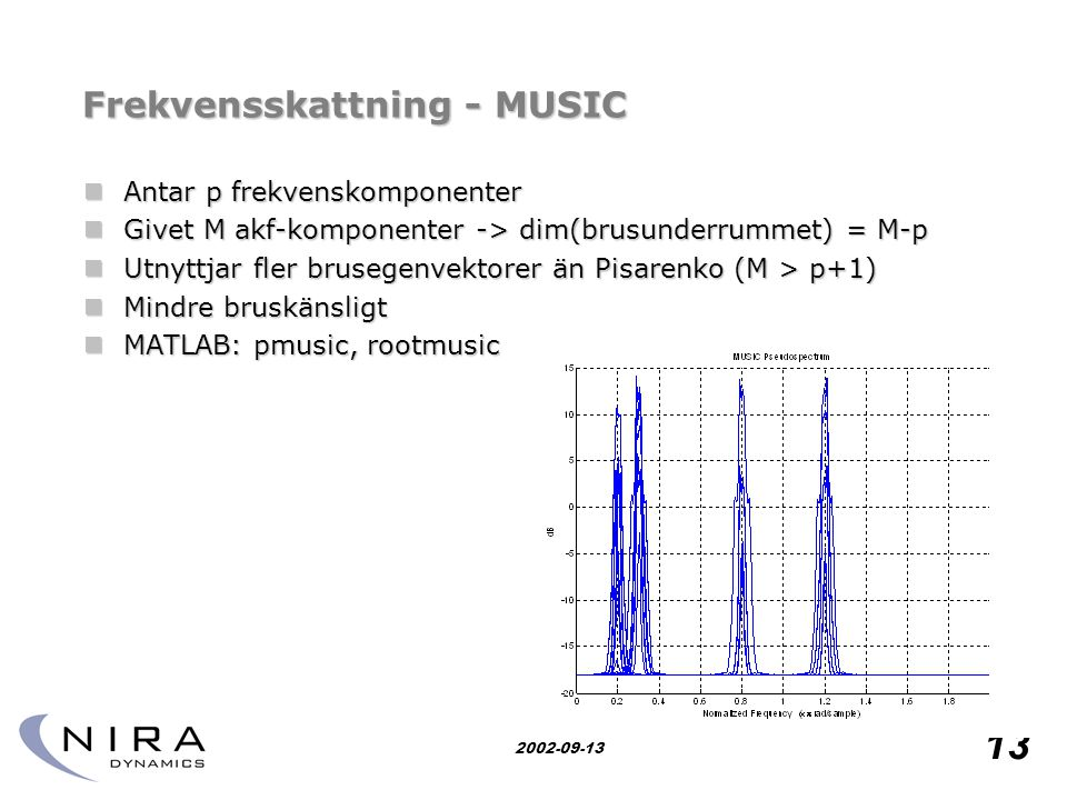 Research for safety 13 2002-09-13 Frekvensskattning - MUSIC  Antar p frekvenskomponenter  Givet M akf-komponenter -> dim(brusunderrummet) = M-p  Ut