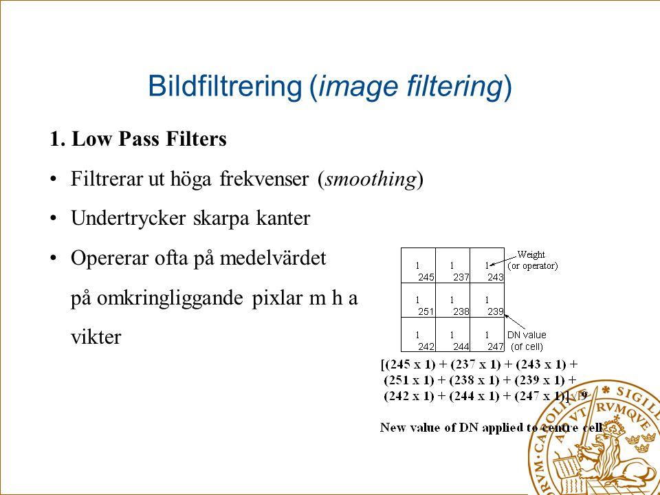 Bildfiltrering (image filtering) 1. Low Pass Filters •Filtrerar ut höga frekvenser (smoothing) •Undertrycker skarpa kanter •Opererar ofta på medelvärd