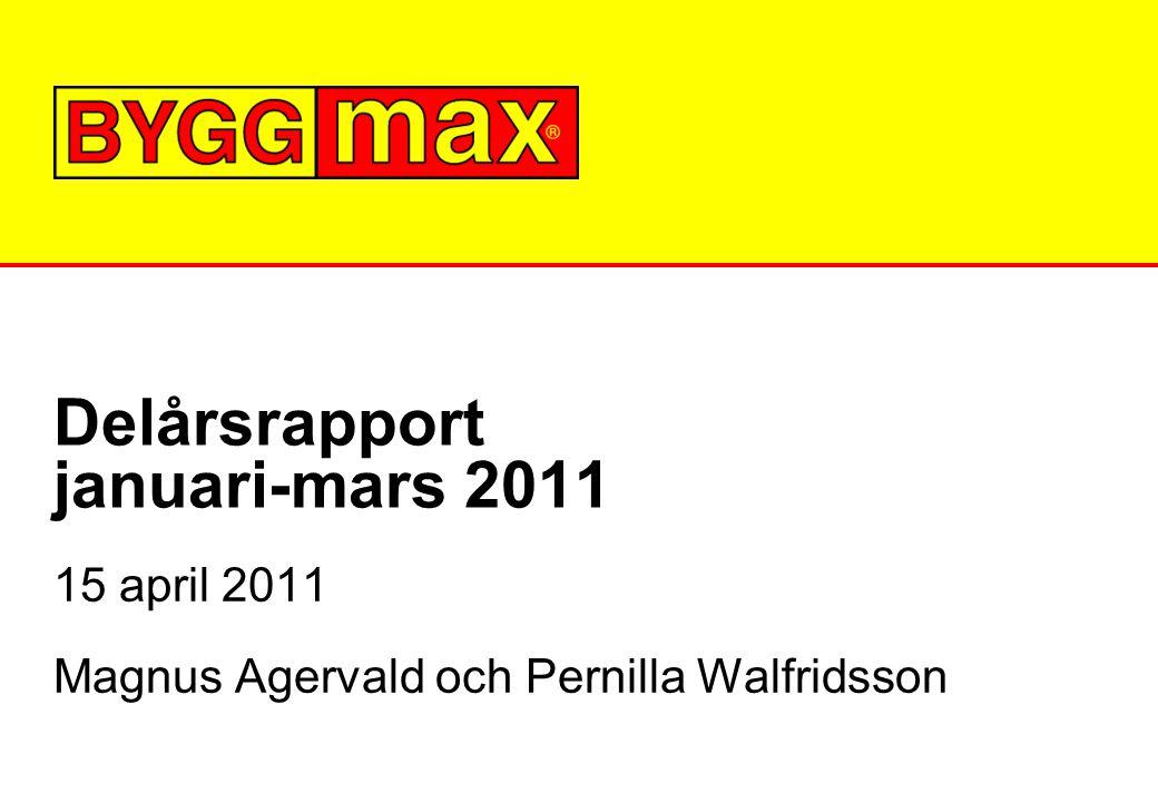 Delårsrapport januari-mars 2011 15 april 2011 Magnus Agervald och Pernilla Walfridsson