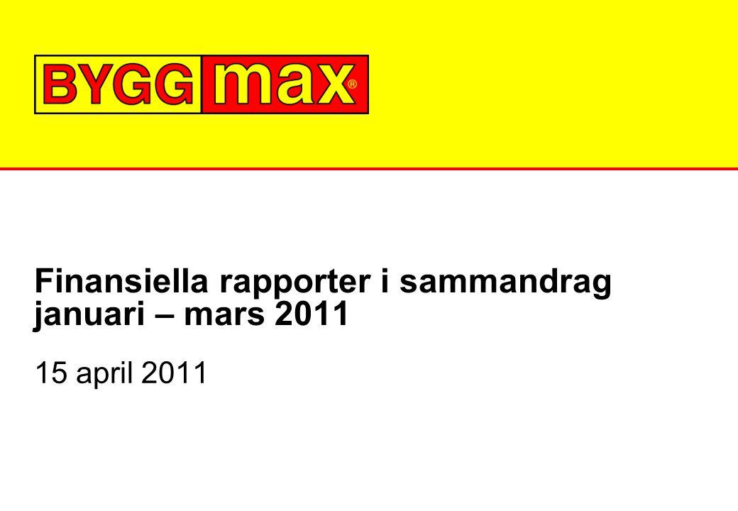 Finansiella rapporter i sammandrag januari – mars 2011 15 april 2011