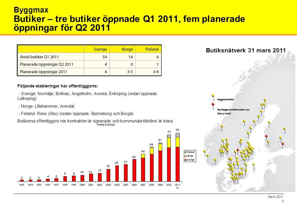 Mars, 2011 3 Butiker – tre butiker öppnade Q1 2011, fem planerade öppningar för Q2 2011 Byggmax Butiksnätverk 31 mars 2011 Följande etableringar har o