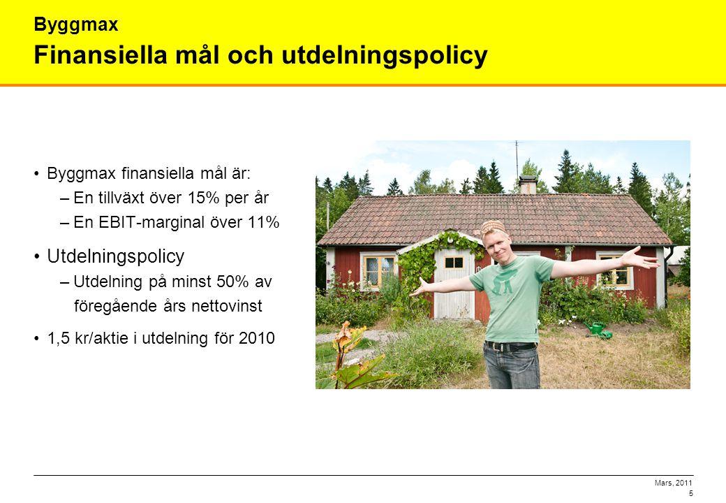 Mars, 2011 5 Finansiella mål och utdelningspolicy •Byggmax finansiella mål är: –En tillväxt över 15% per år –En EBIT-marginal över 11% •Utdelningspoli