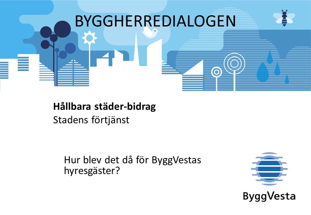 BYGGHERREDIALOGEN Hållbara städer-bidrag Stadens förtjänst Hur blev det då för ByggVestas hyresgäster?