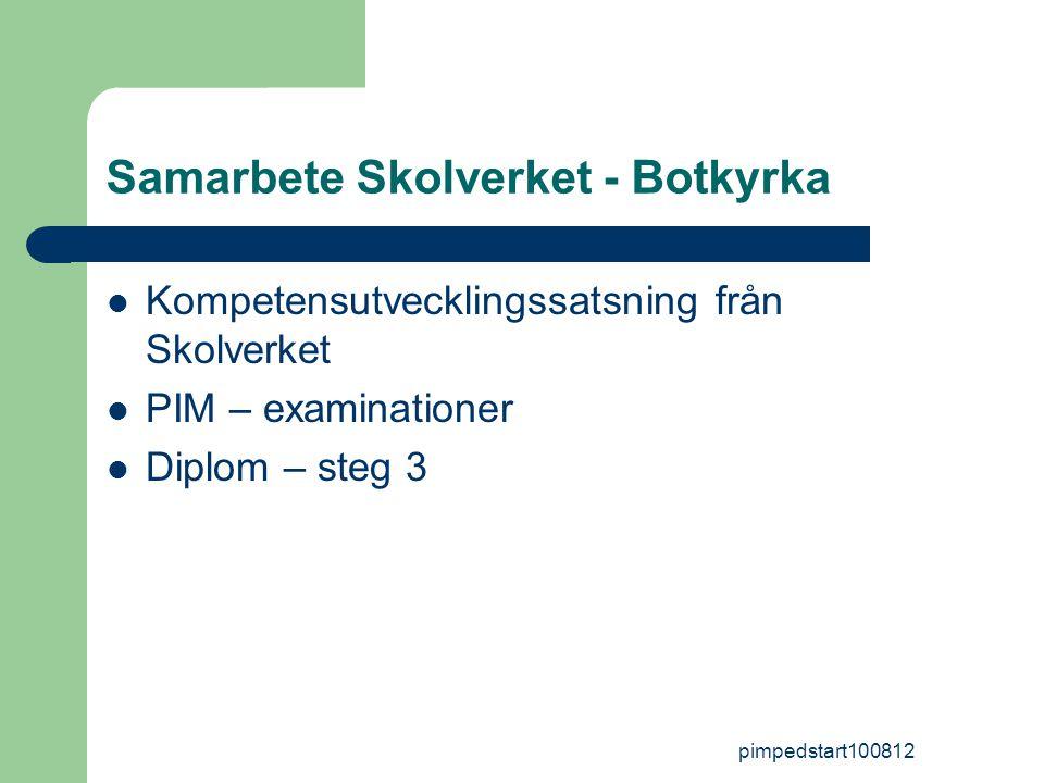 pimpedstart100812 Samarbete Skolverket - Botkyrka  Kompetensutvecklingssatsning från Skolverket  PIM – examinationer  Diplom – steg 3