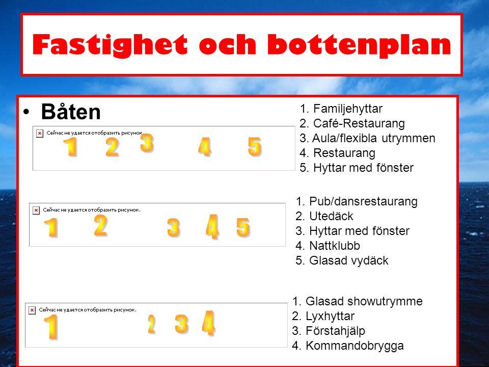 Fastighet och bottenplan •Båten 1. Familjehyttar 2. Café-Restaurang 3. Aula/flexibla utrymmen 4. Restaurang 5. Hyttar med fönster 1. Pub/dansrestauran