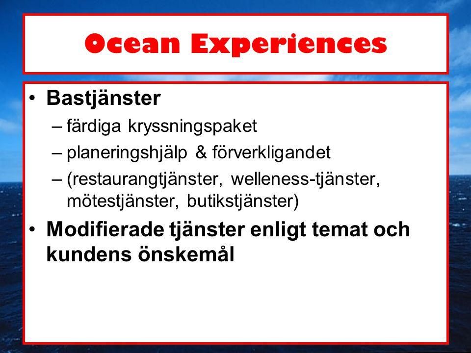 Ocean Experiences •Mission: att erbjuda oförglömliga upplevelser på havet •Vision: att uppfylla kundens önskemål och överträffa kundens förväntningar genom att lyssna på kunden och sedan tillsammans med kunden bygga upp en skräddarsydd tjänstehelhet •Värderingar: Kundens intressen är i centrum, i allt vi gör •Mål: att inom en tid på tre år bli den ledande förverkligaren av temakryssningar inom Östersjöområdet