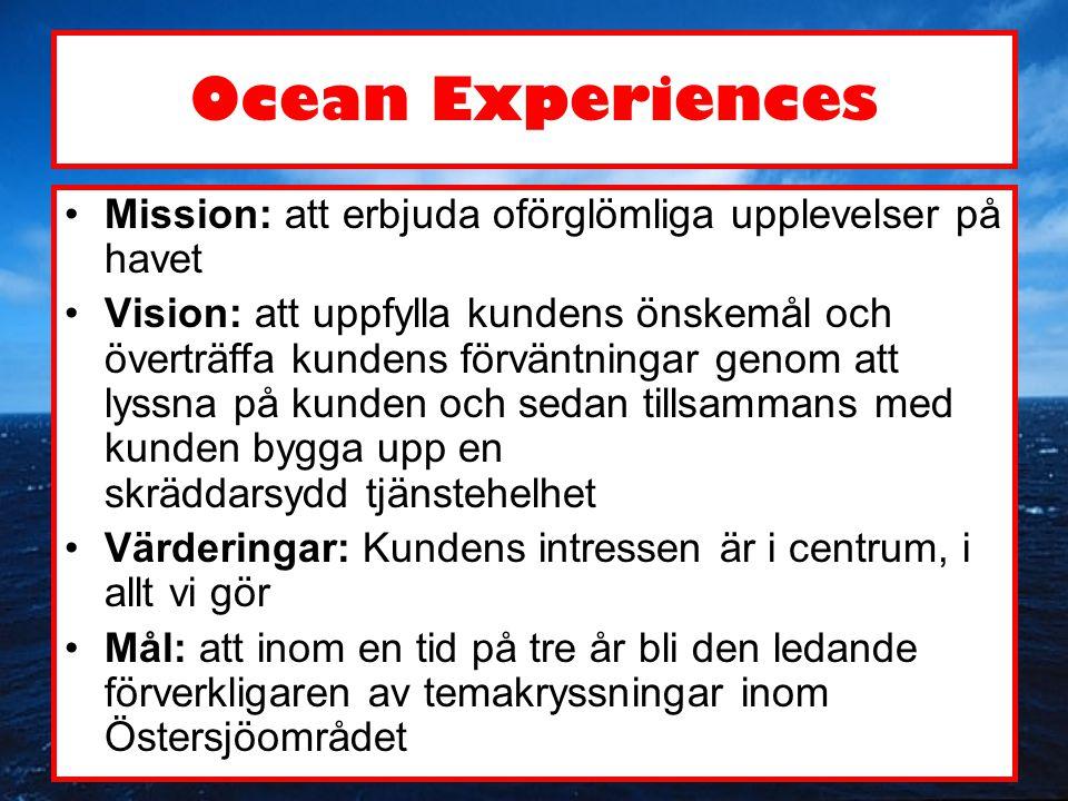 Ocean Experiences •Mission: att erbjuda oförglömliga upplevelser på havet •Vision: att uppfylla kundens önskemål och överträffa kundens förväntningar