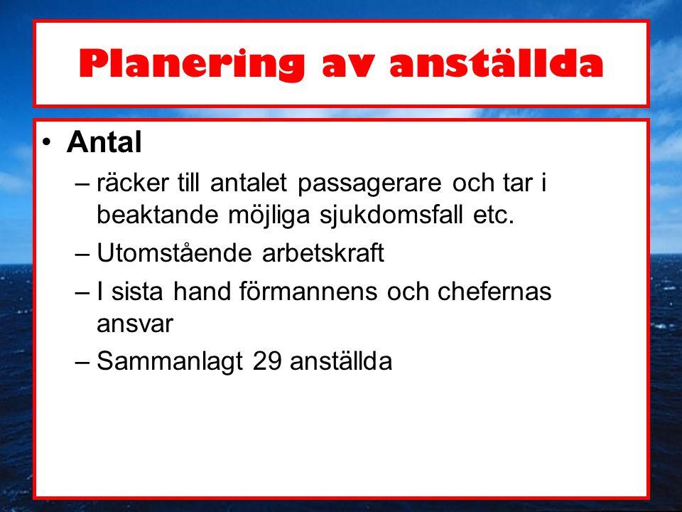 Planering av anställda •Antal –räcker till antalet passagerare och tar i beaktande möjliga sjukdomsfall etc. –Utomstående arbetskraft –I sista hand fö
