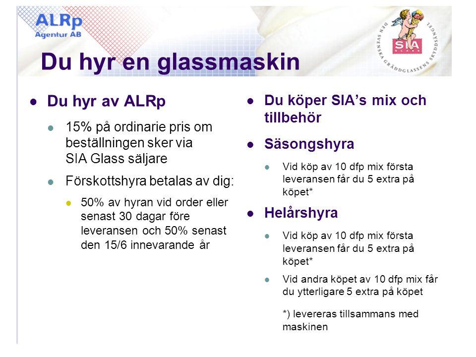 Du hyr en glassmaskin  Du hyr av ALRp  15% på ordinarie pris om beställningen sker via SIA Glass säljare  Förskottshyra betalas av dig:  50% av hy