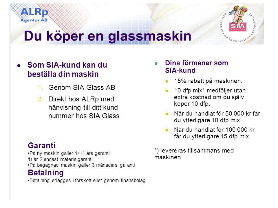 Du köper en glassmaskin  Som SIA-kund kan du beställa din maskin 1. Genom SIA Glass AB 2. Direkt hos ALRp med hänvisning till ditt kund- nummer hos S