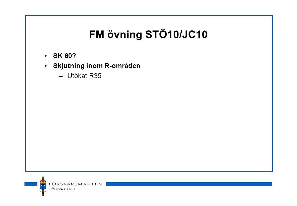 HÖGKVARTERET FM övning STÖ10/JC10 •SK 60 •Skjutning inom R-områden –Utökat R35