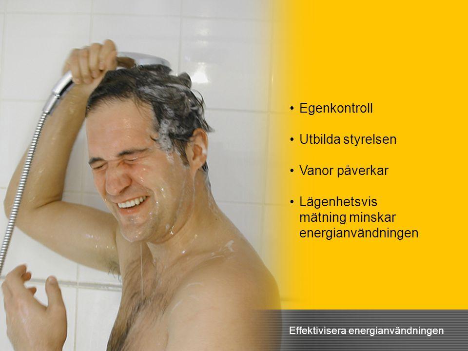 •Egenkontroll •Utbilda styrelsen •Vanor påverkar •Lägenhetsvis mätning minskar energianvändningen