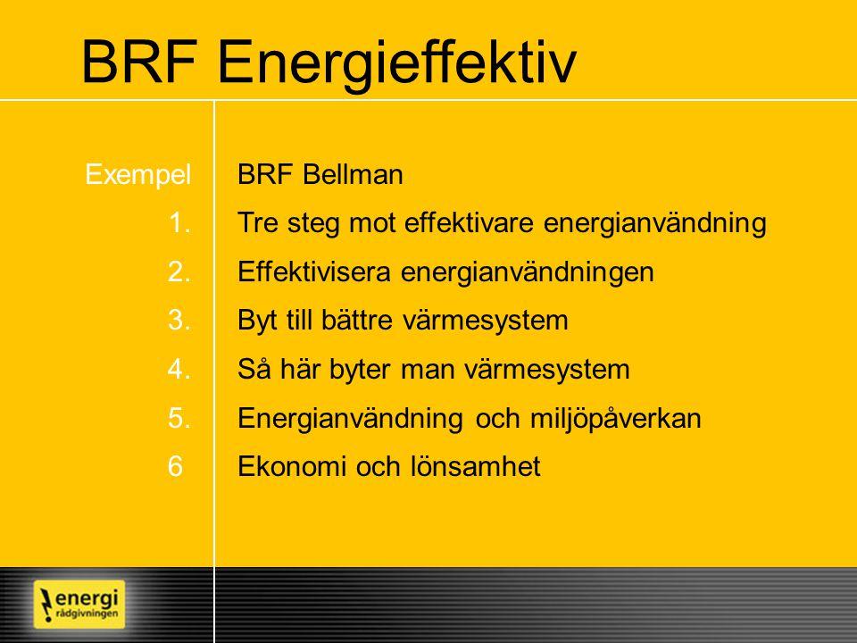BRF Bellman Tre steg mot effektivare energianvändning Effektivisera energianvändningen Byt till bättre värmesystem Så här byter man värmesystem Energi