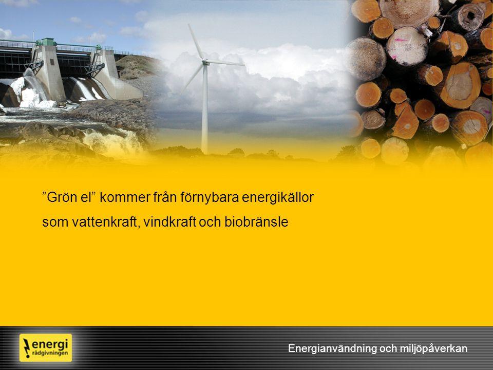 """Energianvändning och miljöpåverkan """"Grön el"""" kommer från förnybara energikällor som vattenkraft, vindkraft och biobränsle"""