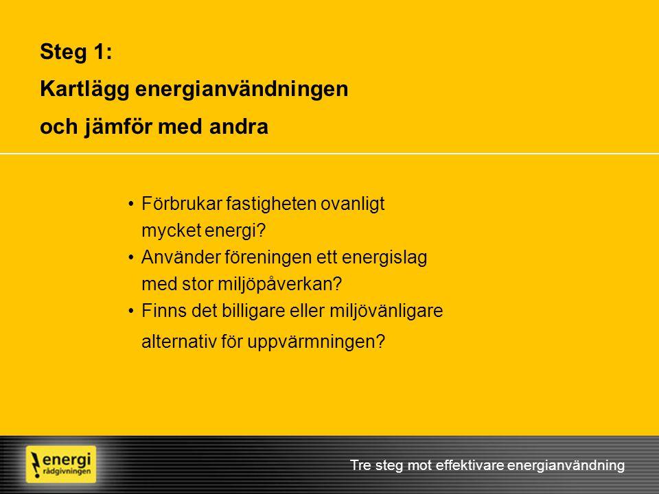 Steg 1: Kartlägg energianvändningen och jämför med andra Tre steg mot effektivare energianvändning •Förbrukar fastigheten ovanligt mycket energi? •Anv