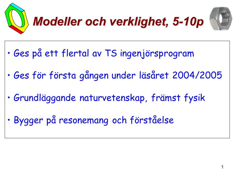 1 Modeller och verklighet, 5-10p • Ges på ett flertal av TS ingenjörsprogram • Ges för första gången under läsåret 2004/2005 • Grundläggande naturvetenskap, främst fysik • Bygger på resonemang och förståelse